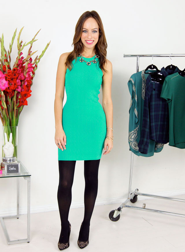 Sydne-Style-how-to-wear-the-emerald-trend-bebe-knit-sweater-dress-black-tights