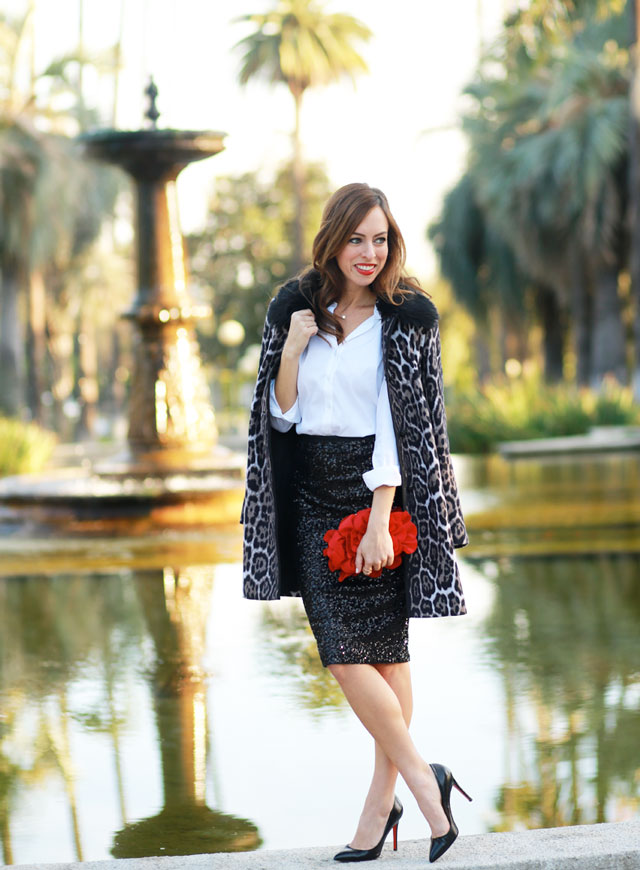 Sydne-Style-how-to-wear-a-sequin-skirt-the-glitter-guide-style-sessions-juicy-couture-leopard-coat-white-button-down-shirt-christian-louboutin-pigalle-pumps