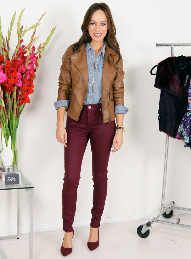 Sydne-Style-wine-trend-fall-2013-burgundy-jeans-pinot-noir-skinny-jeans-camel-chambray-trend-guide-fall-outfit-ideas