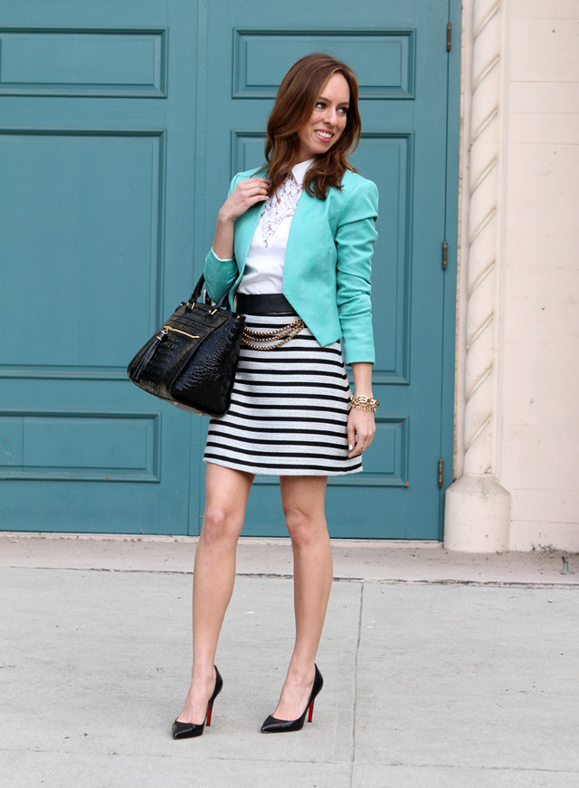 Sydne-Style-aqua-blazer-striped-skirt-collared-shirt-lace-trend-spring-outfit-ideas-christian-louboutin-pigalle-pumps