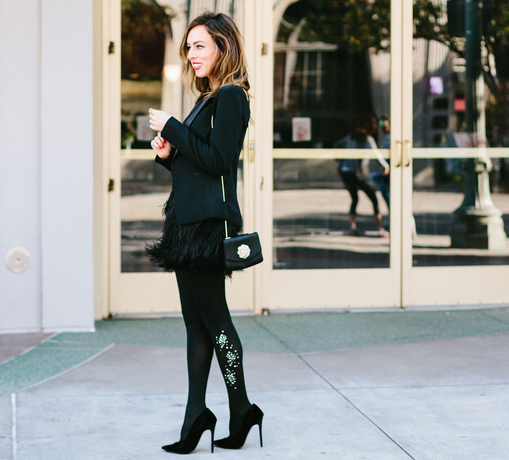 Sydne Style shows how to wear a feather skirt with an Express tuxedo jacket