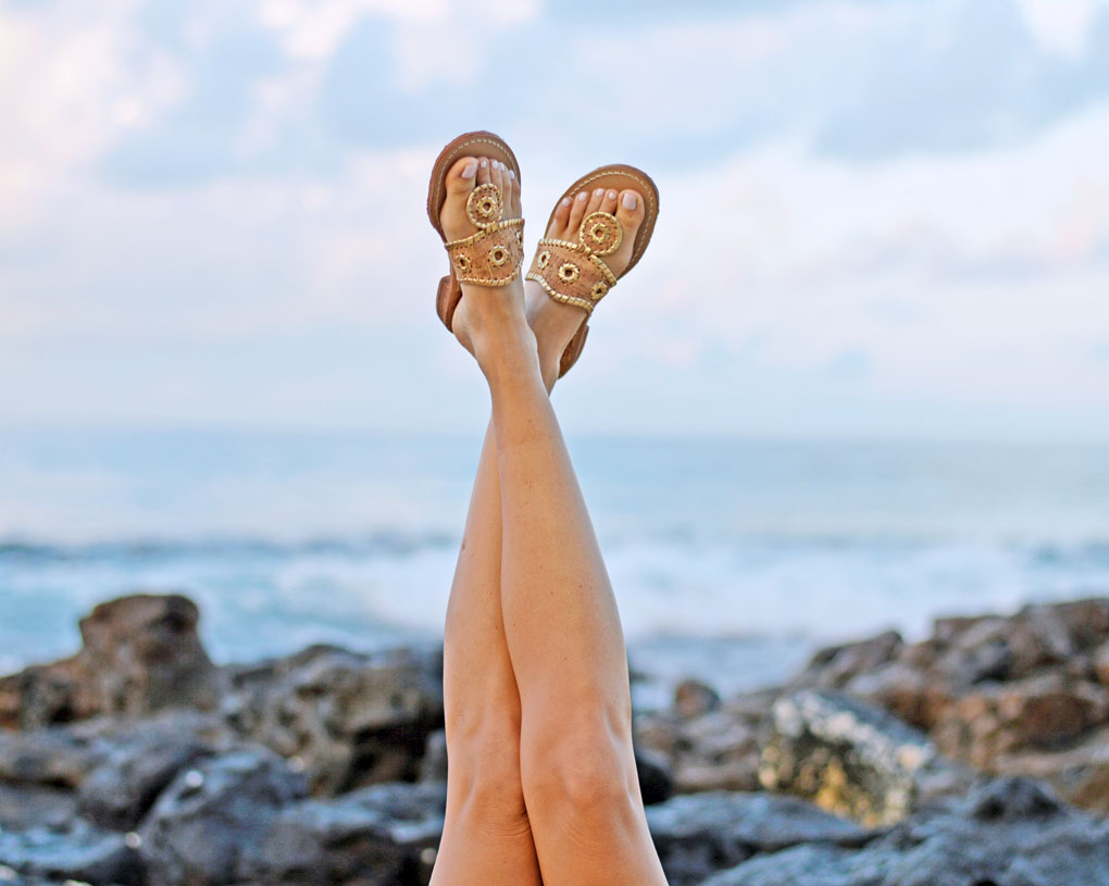 Sydne Style wears Jack Rogers Napa Valley gold sandals