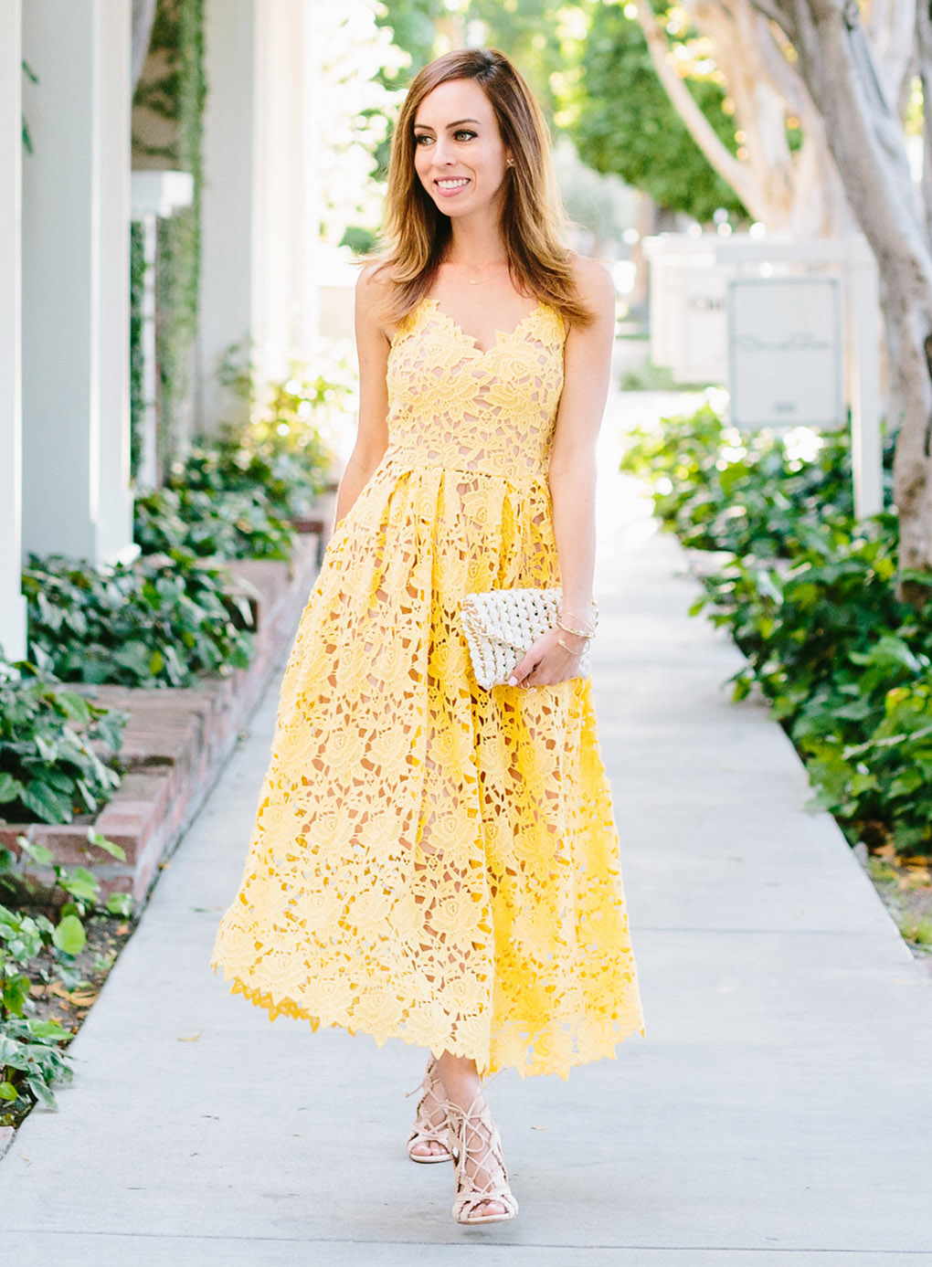 Sydne Style inspired by Miranda Kerr yellow lace dress for celebrity looks for less