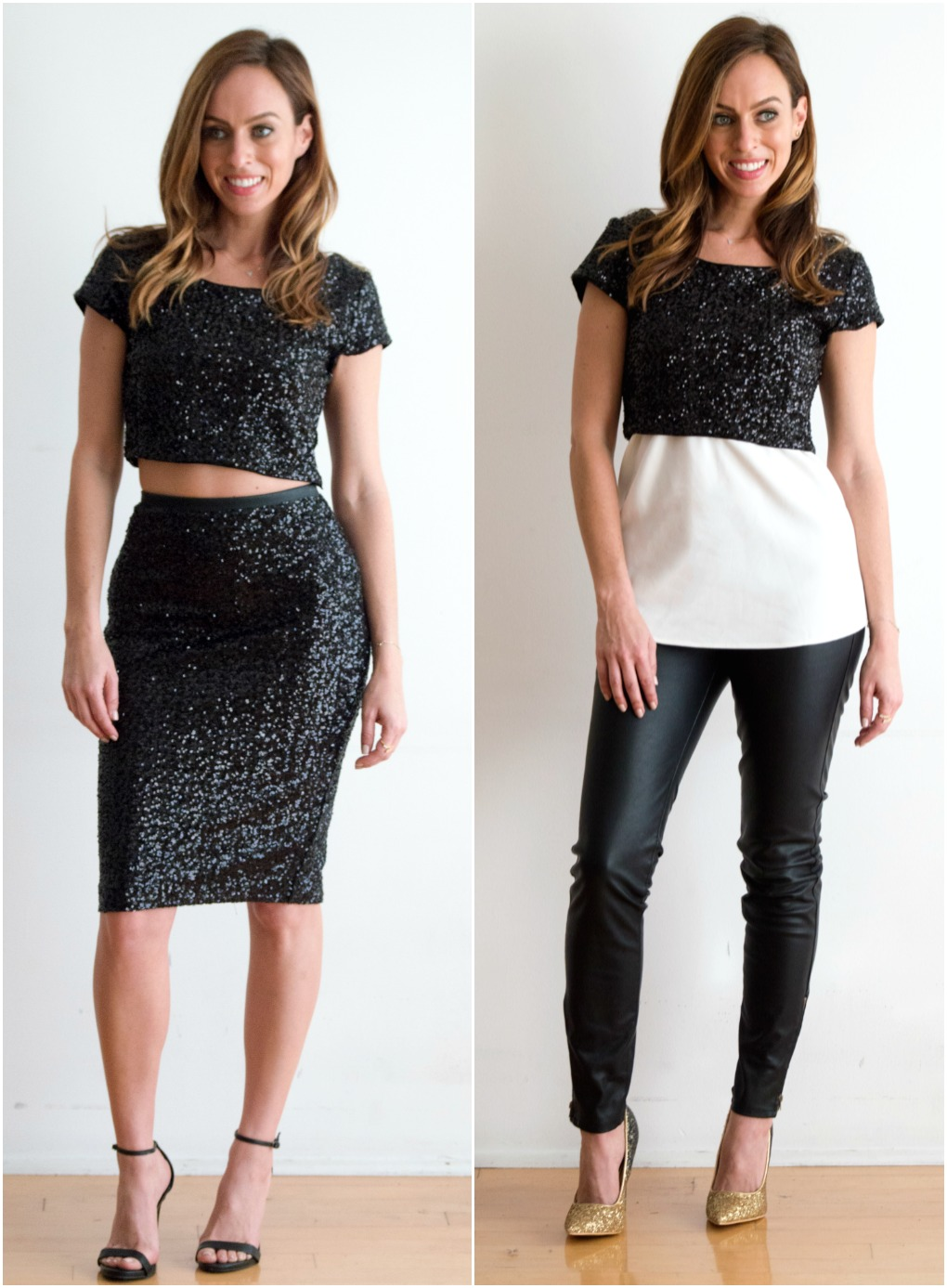 Sydne Style shows how to wear a sequin crop top for new years eve outfit ideas