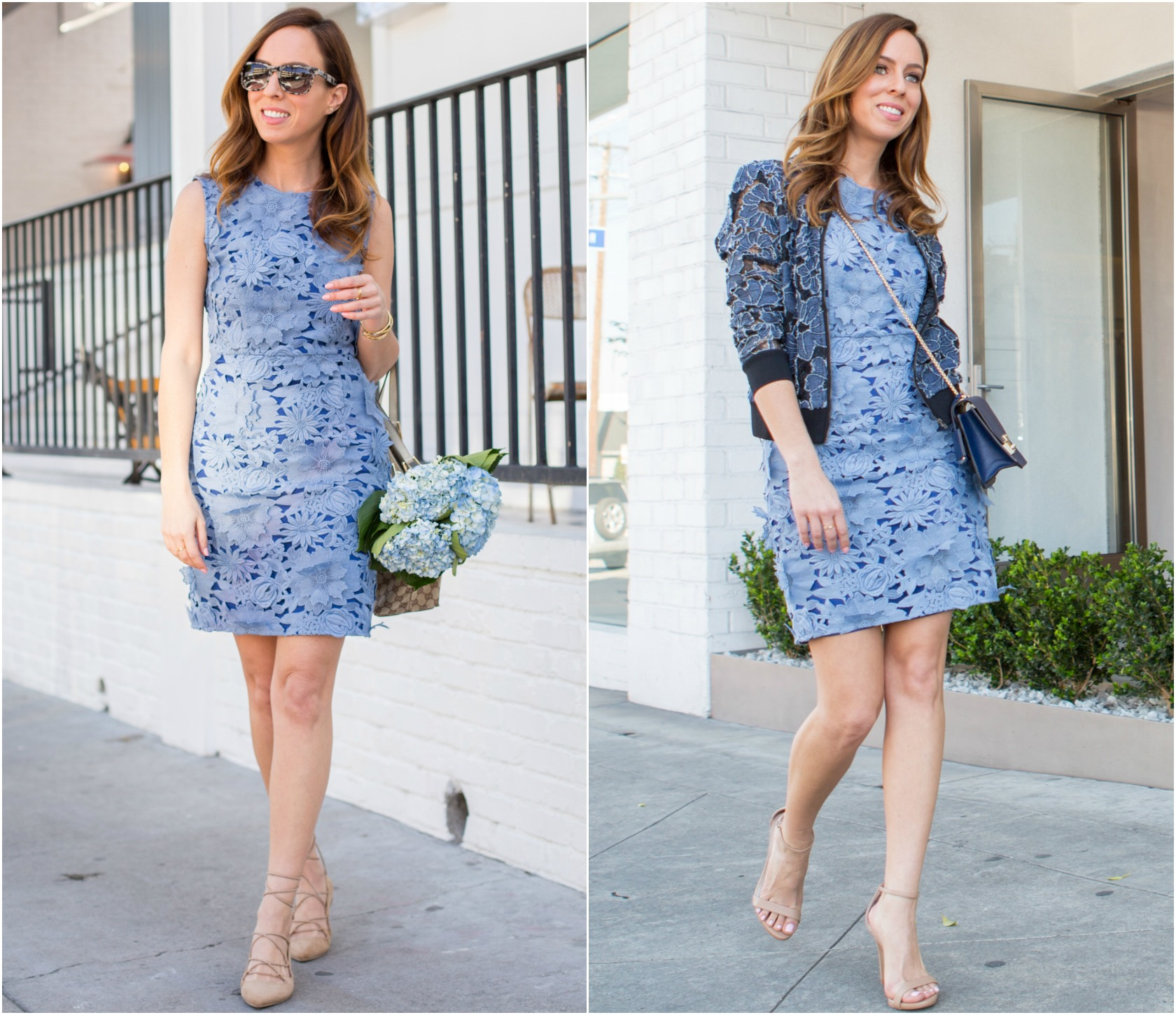 Sydne Style shows how to wear a blue lace dress from day to night