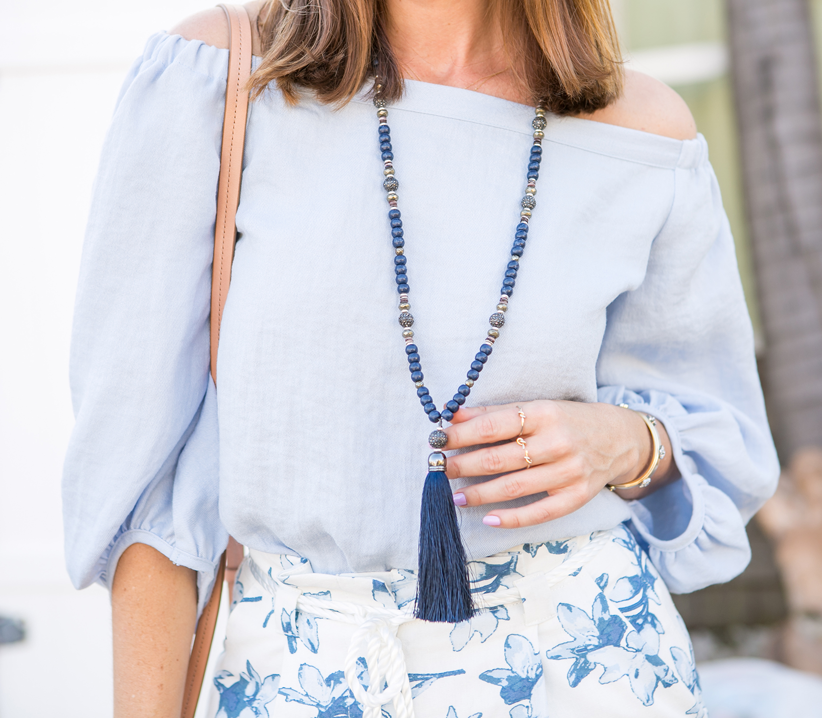 Sydne Style wears stella and dot tassel necklace for 2017 jewelry trends