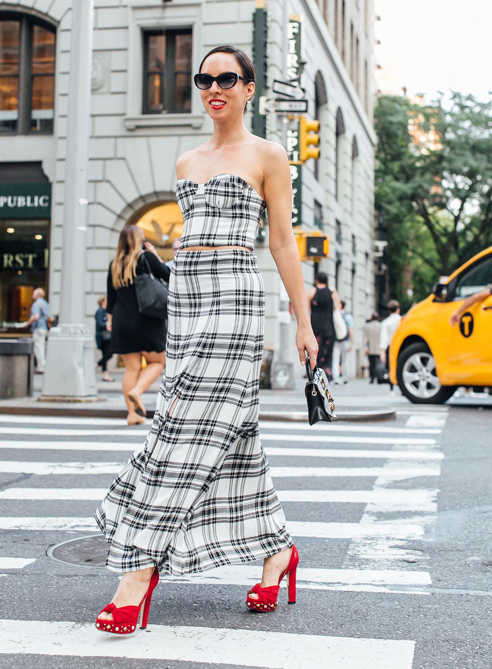 Sydne Style shows how to make plaid dressy for fall fashion week