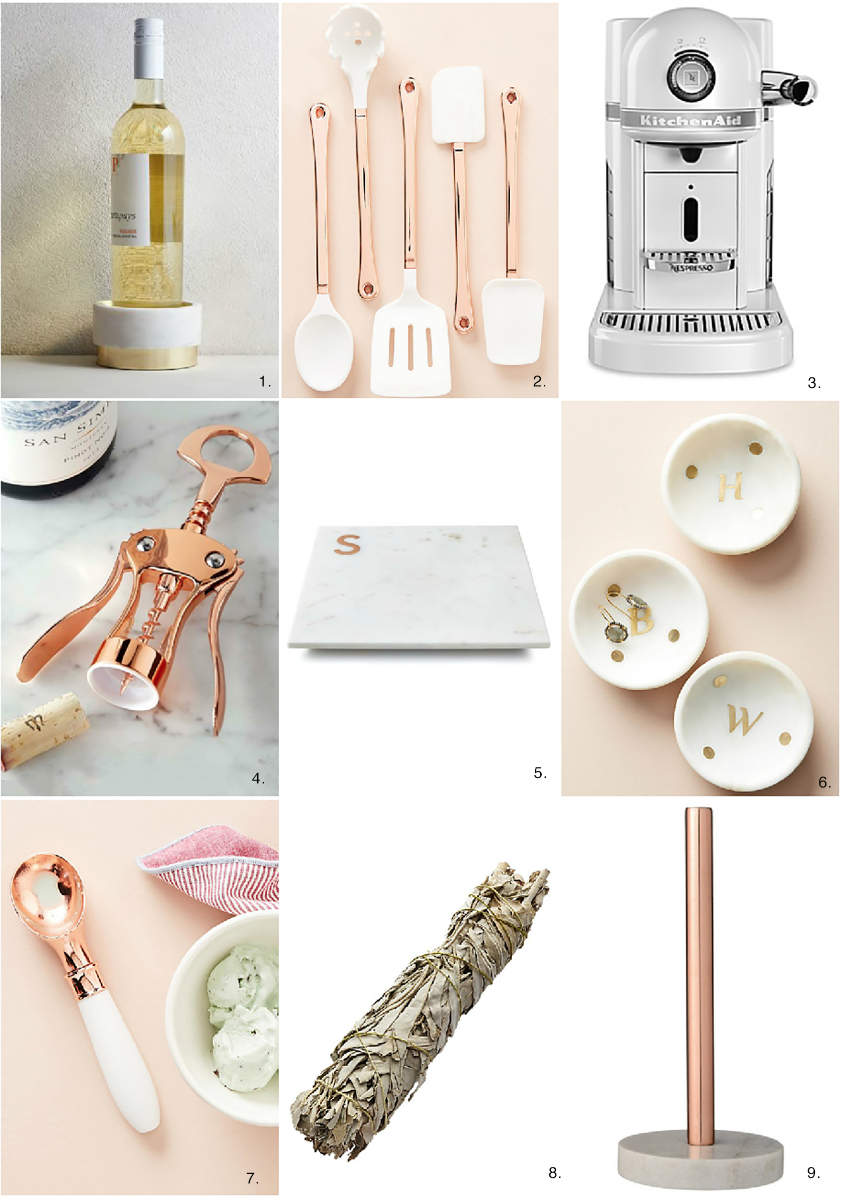 Sydne Style shares the best kitchen decor with rose gold utensils white nespresso marble cheese board