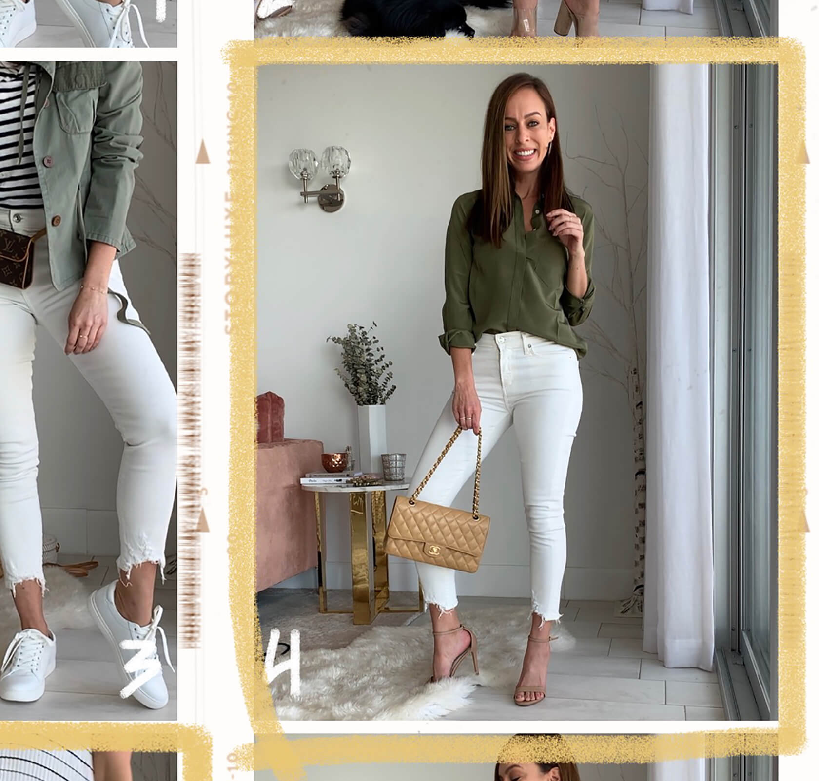 Sydne Style shows how to wear white skinny jeans for spring outfit ideas in agolde denim