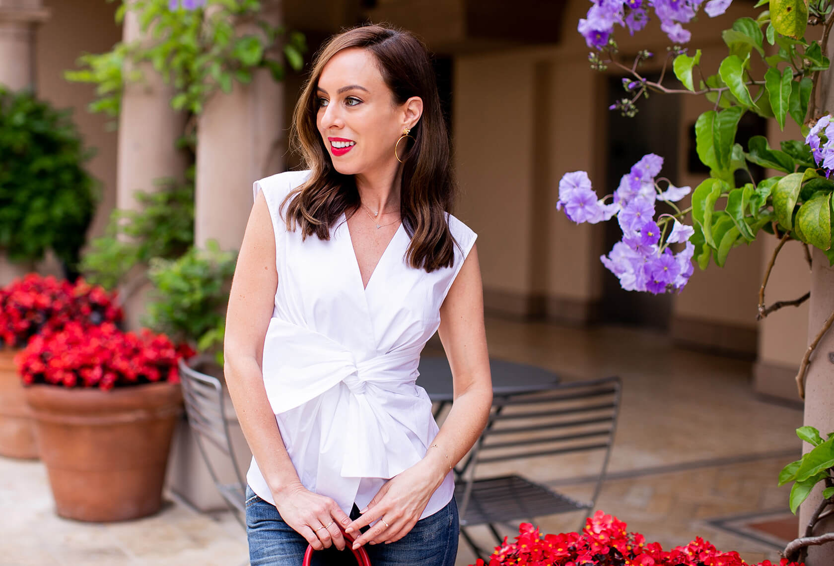 Sydne Style wears Bailey 44 tarte top for best summer white shirts