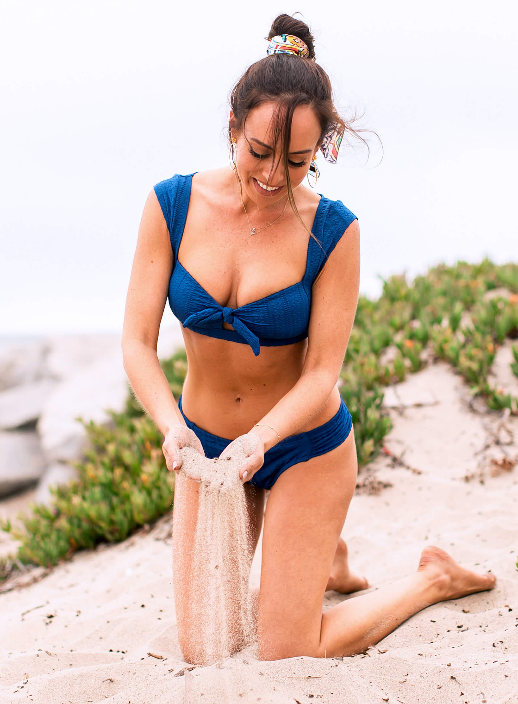 Sydne Style wears kenneth cole blue bikini for beach photos in malibu