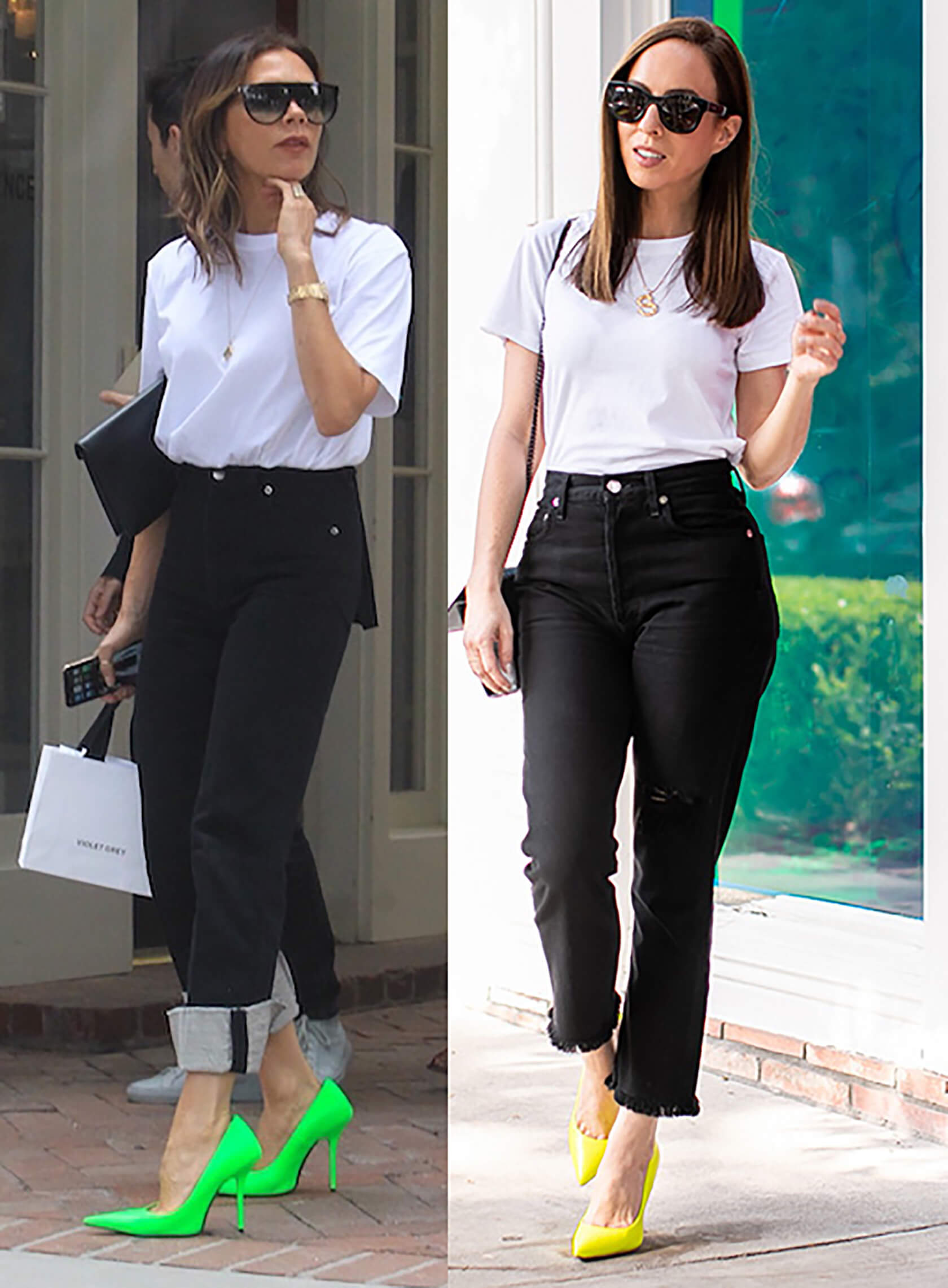 Sydne Style shows how to dress like Victoria Beckham in white tee black jeans and neon shoes