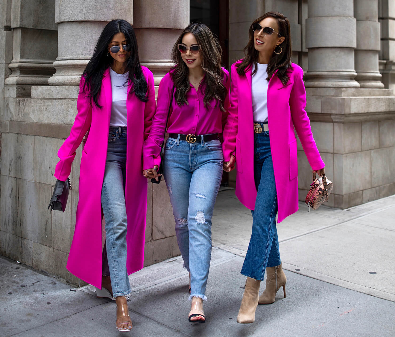 Sydne Style shows how to wear hot pink in adam lippes coat with walk in wonderland and haute pink pretty