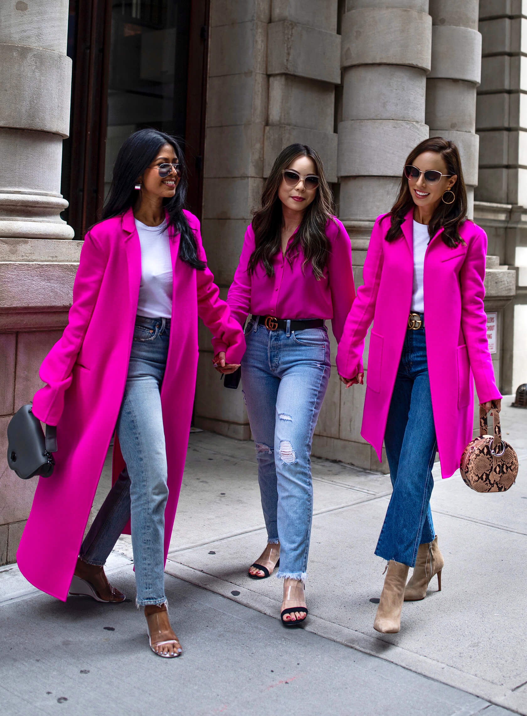 Sydne Style shows how to wear hot pink in casual outfit ideas with jeans with walk in wonderland and haute pink pretty