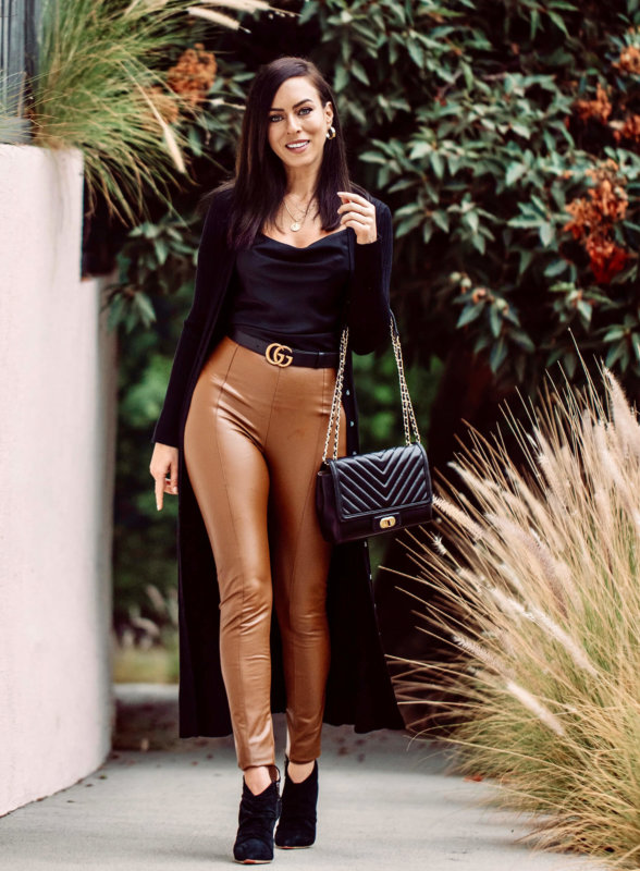 Sydne Style shows leather leggings outfit ideas in black and tan