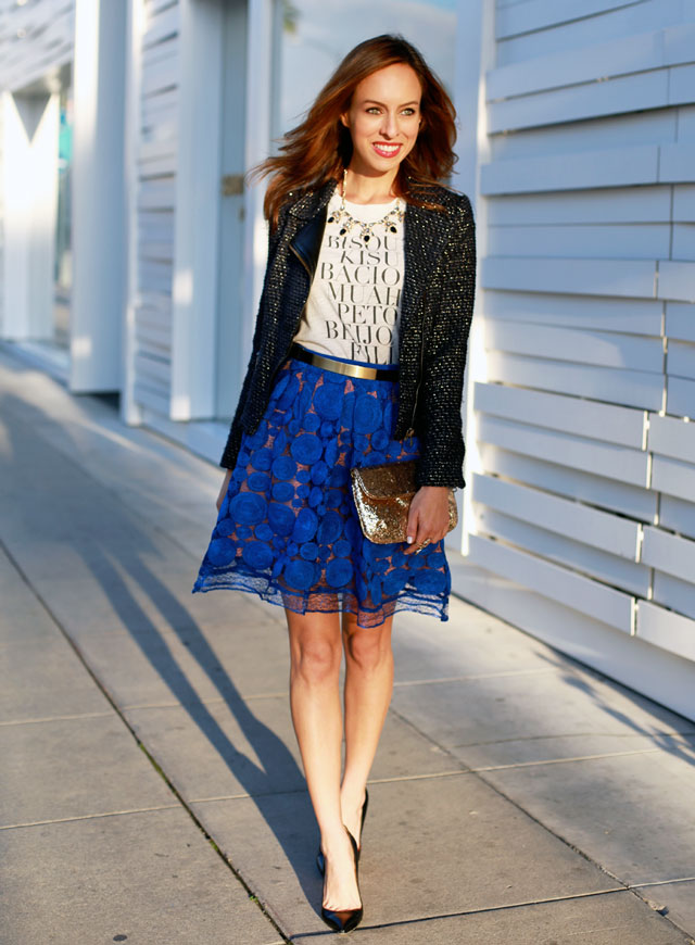 Sydne-Style-what-to-wear-to-a-holiday-party-black-and-blue-fashion-embroidered-skirt-anthropologie-petites