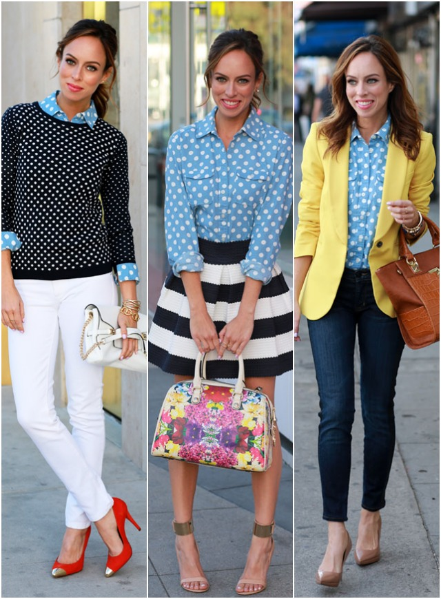Sydne Style how to wear polka dot trend loft button up top spring outfit ideas.jpg