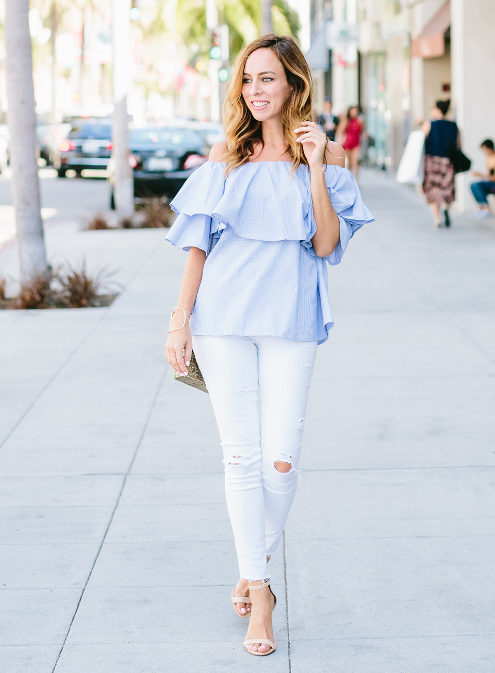 5bd3f86930 Sydne Style wears ruffled off the shoulder top for summer fashion trends  street style