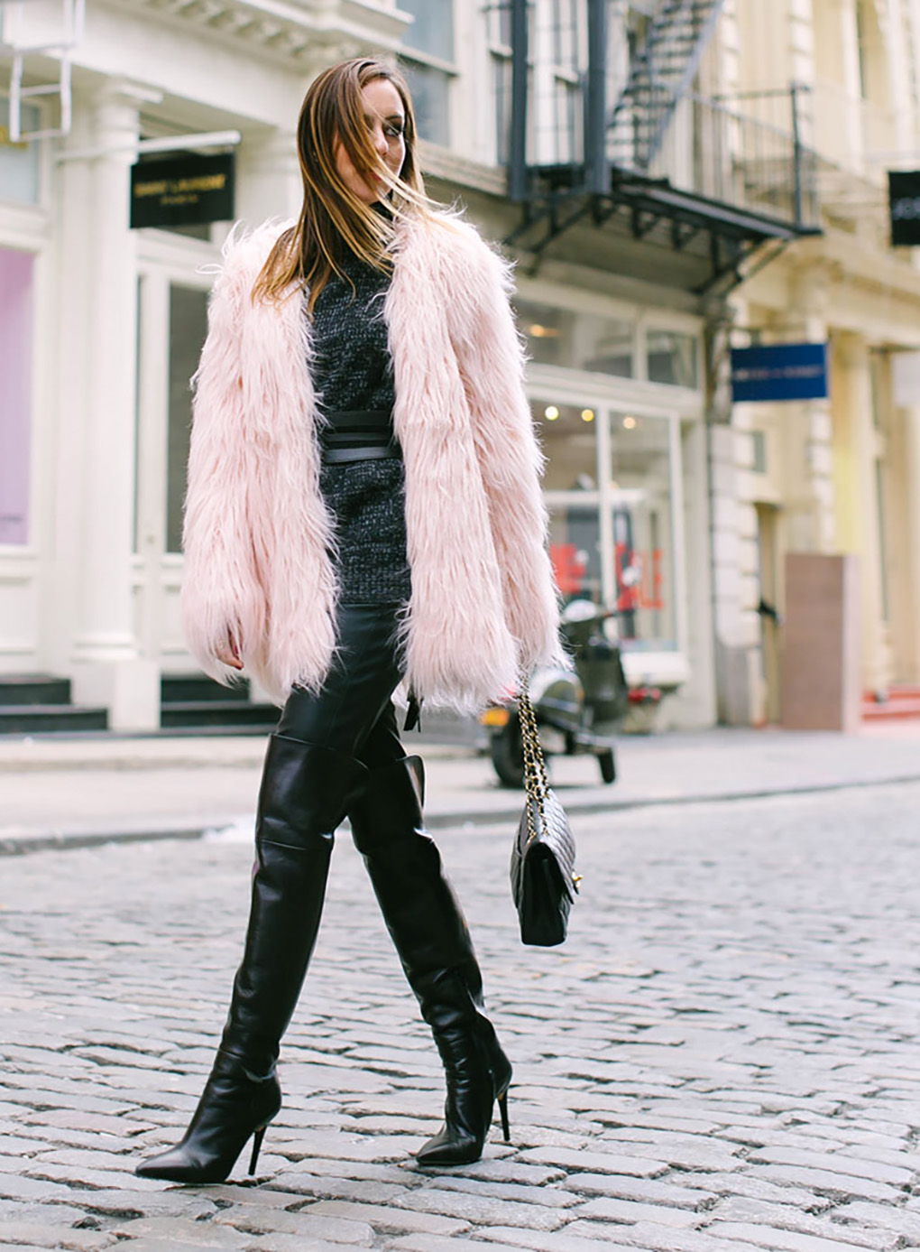 sydne-style-shows-how-to-wear-the-faux-fur-trend-with-a-tarte-pink-fuzzy-coat