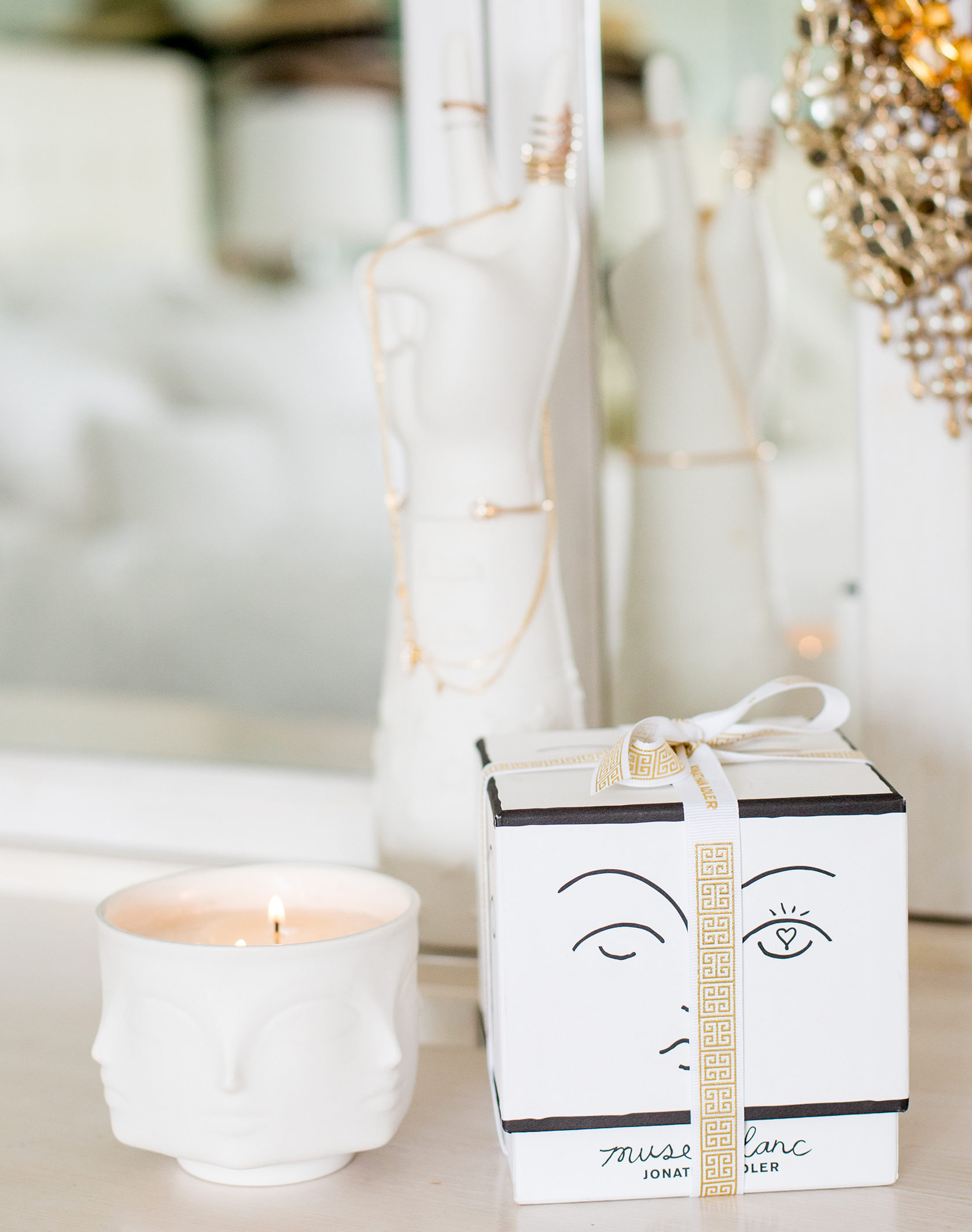 Sydne Style shows home decor ideas with Jonathan Adler muse collection pottery candles