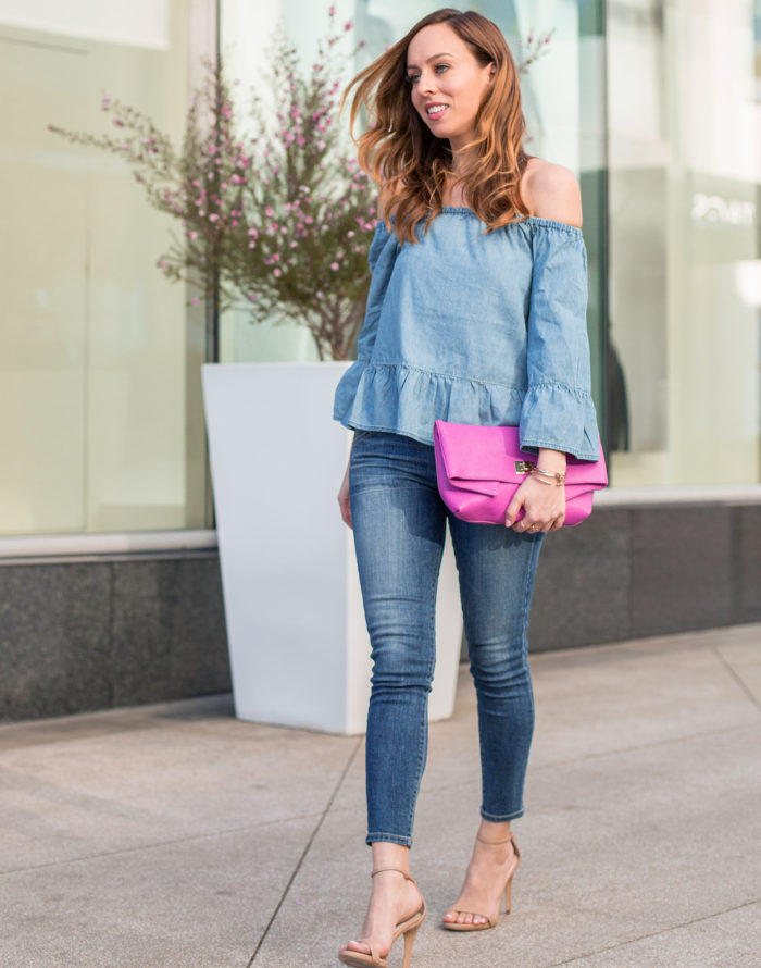 A Feminine Way to Wear the Denim on Denim Trend for Spring