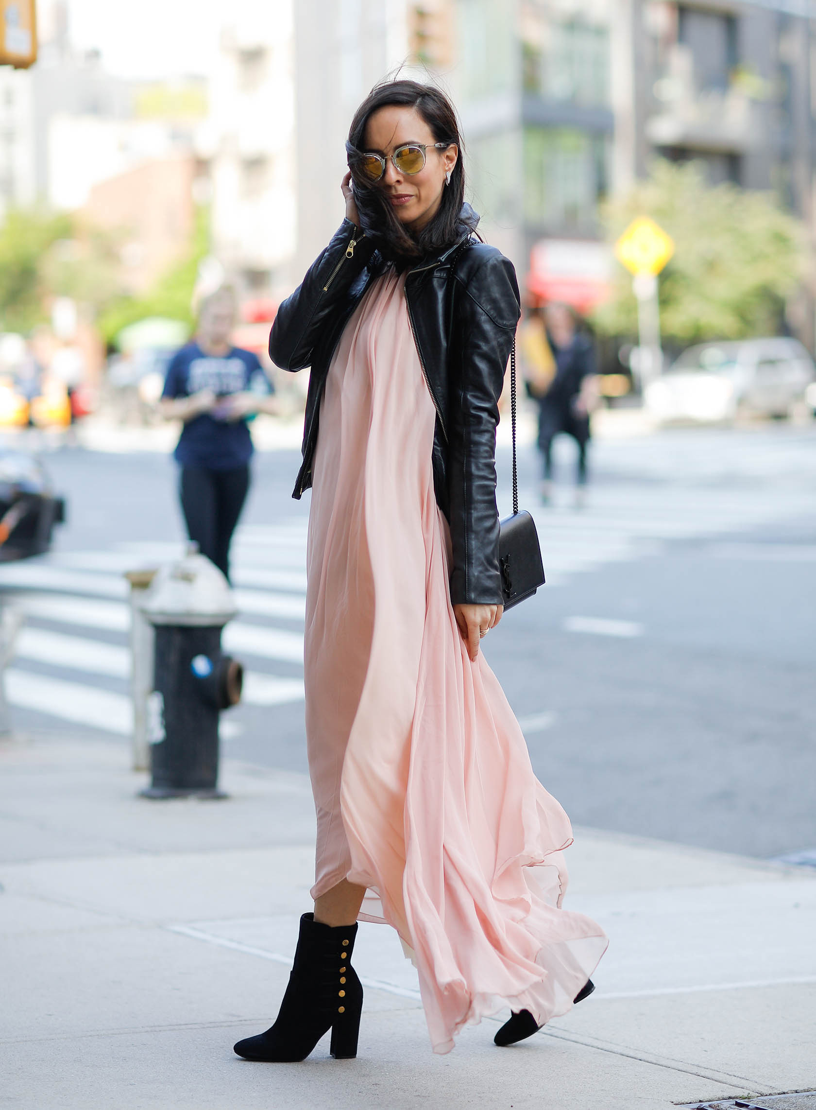 Sydne Style shows how to wear a maxi dress for fall trends