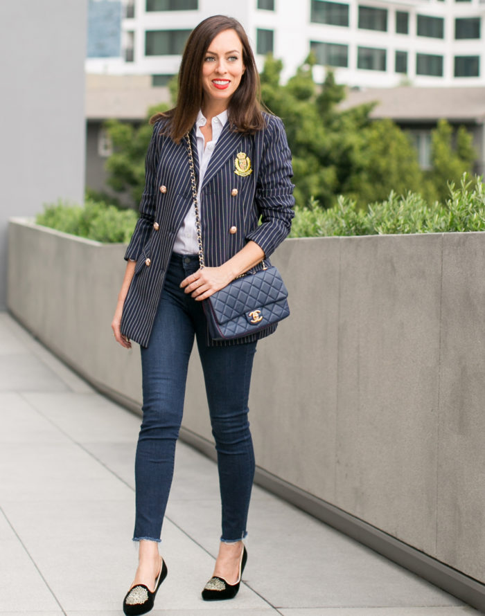 Day to Night a Pinstripe Blazer and Jeans