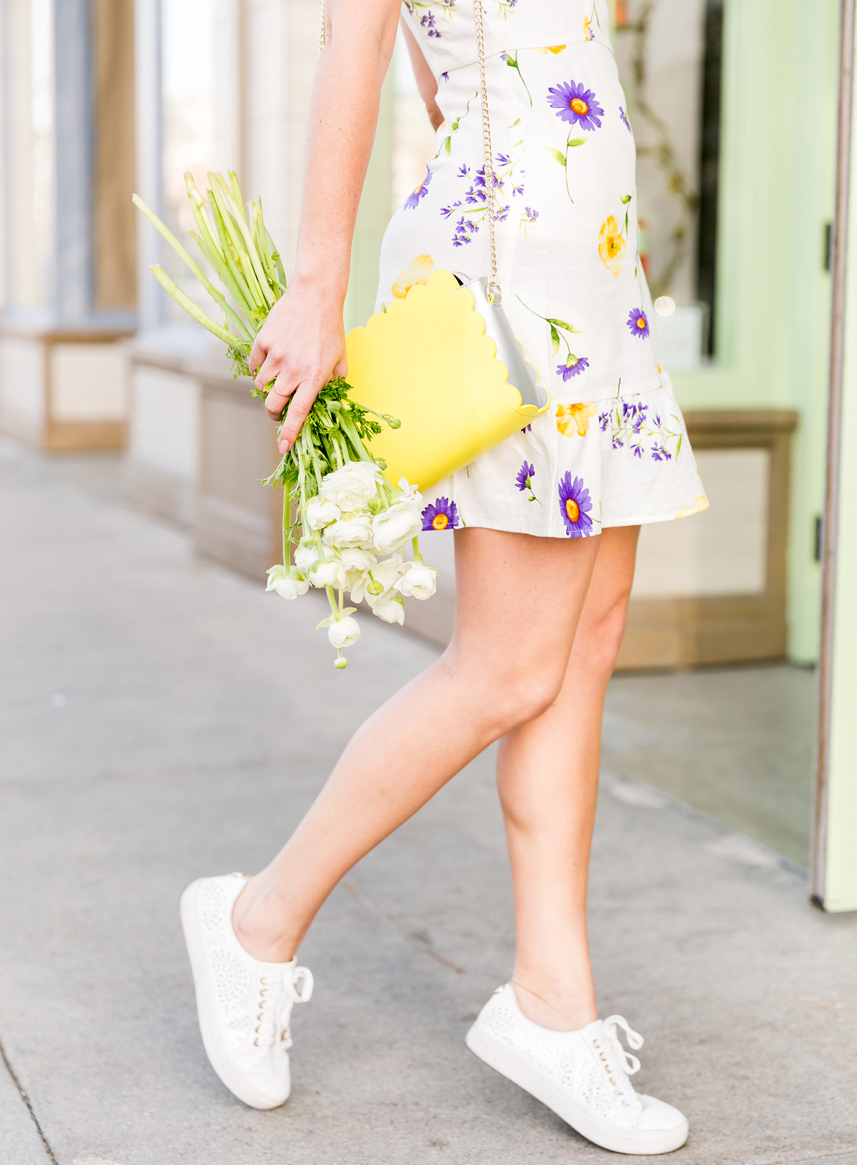 Sydne Style shows how to wear sneakers with dresses for summer outfit ideas