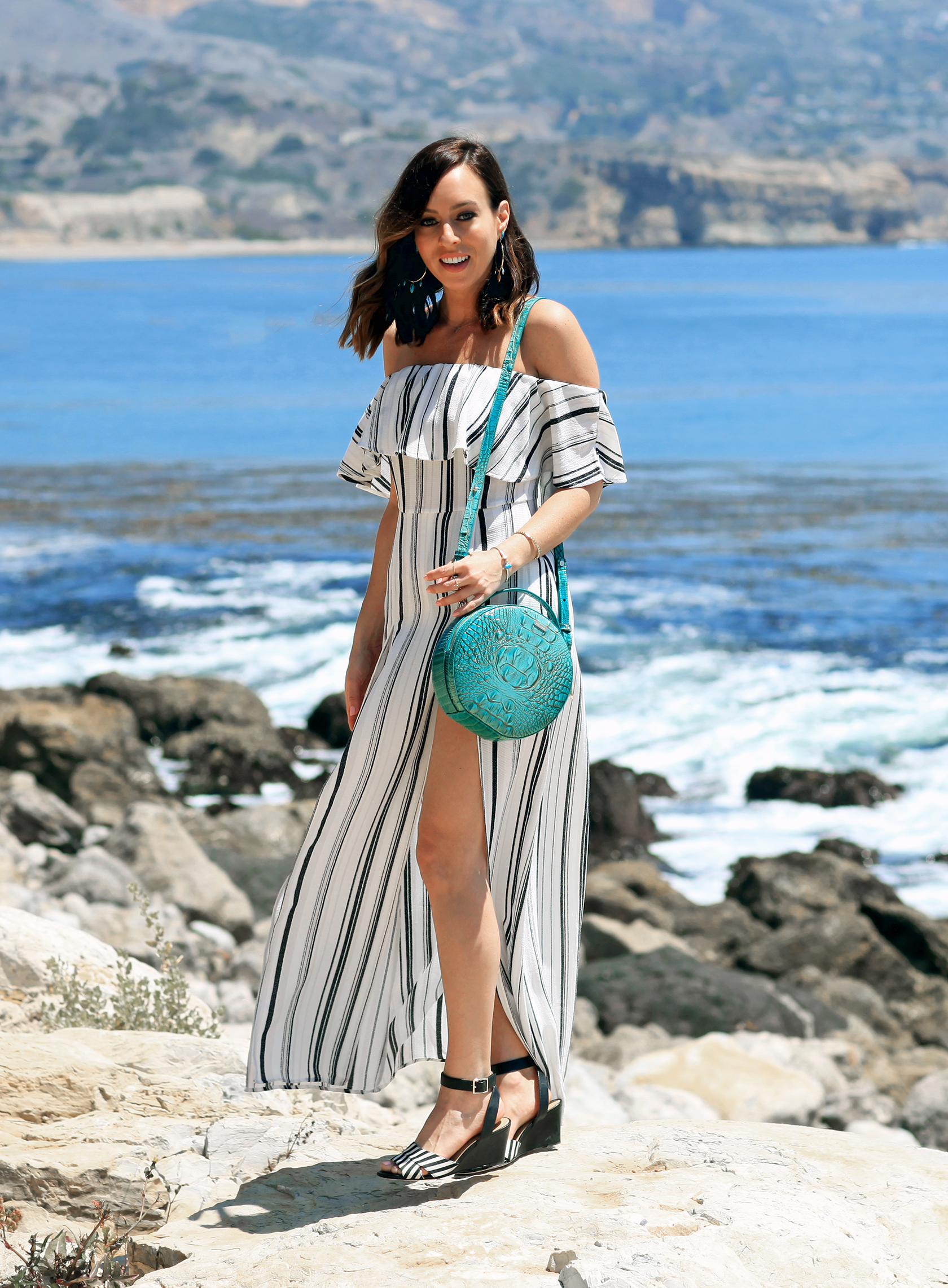 Sydne Style wears Brahmin lane bag in turquoise for summer outfit ideas