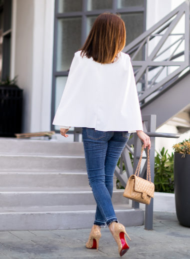 Sydne Style show how to dress like meghan markle in a white cape