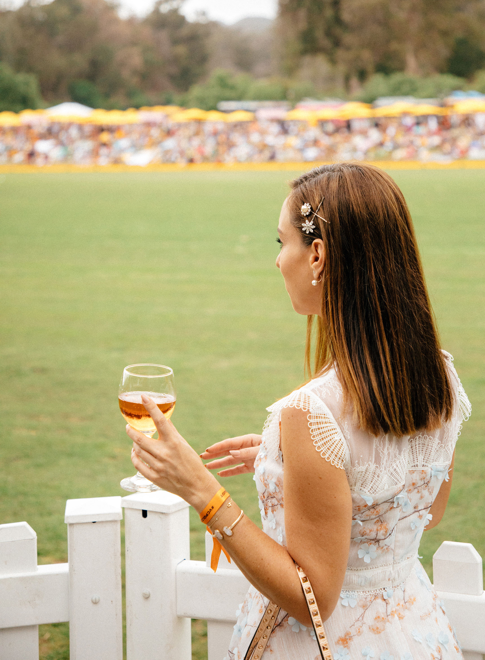 Sydne Style shows how to wear the bobby pin trend at veuve polo match