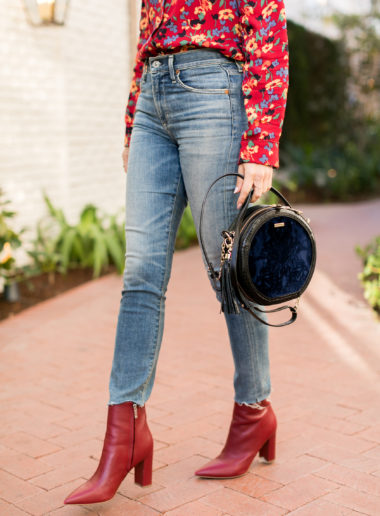 Sydne Style wears marc fisher red booties for fall shoe trends