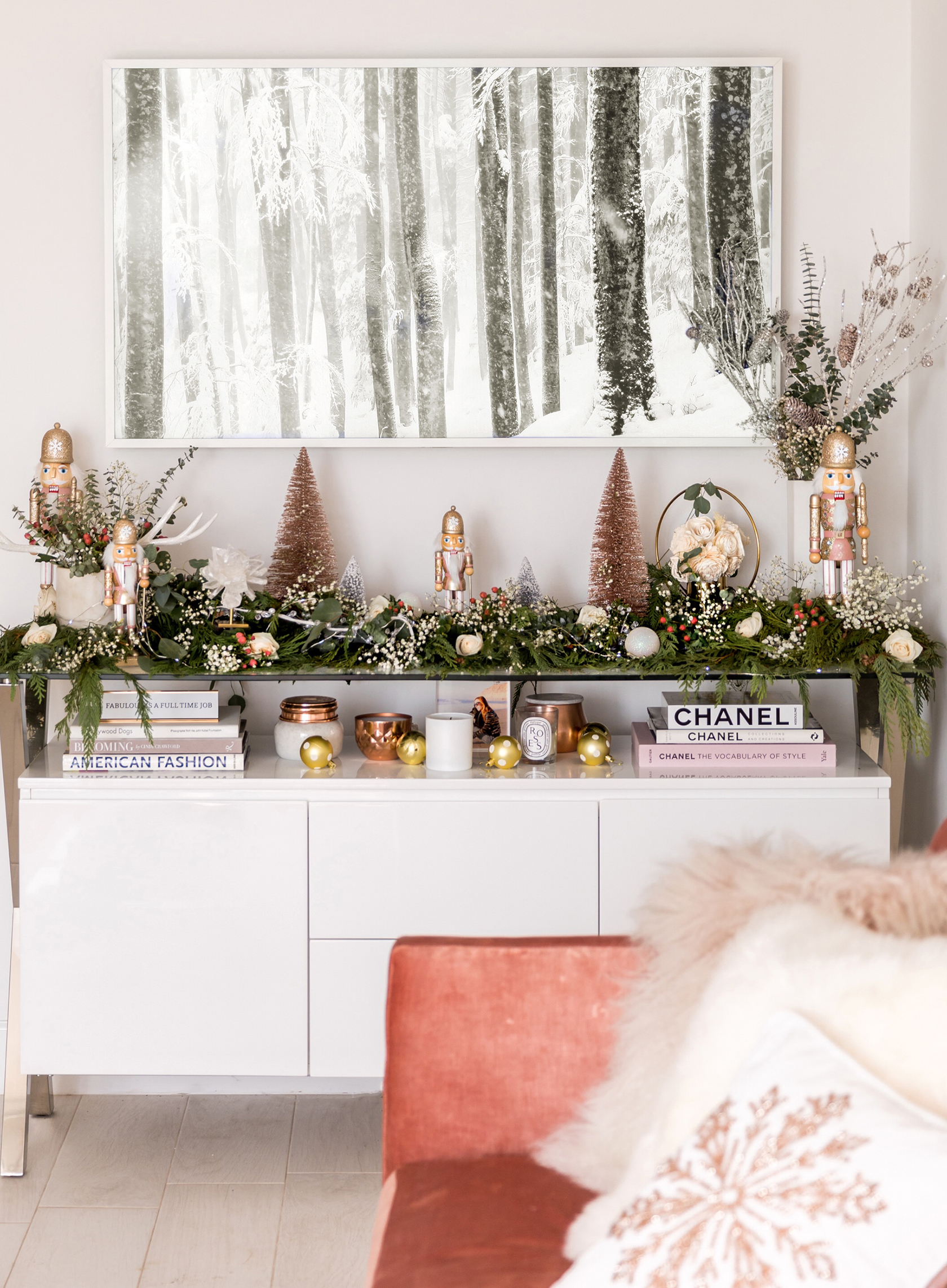 Sydne Style shares glam holiday decor with diy garland ideas for media console