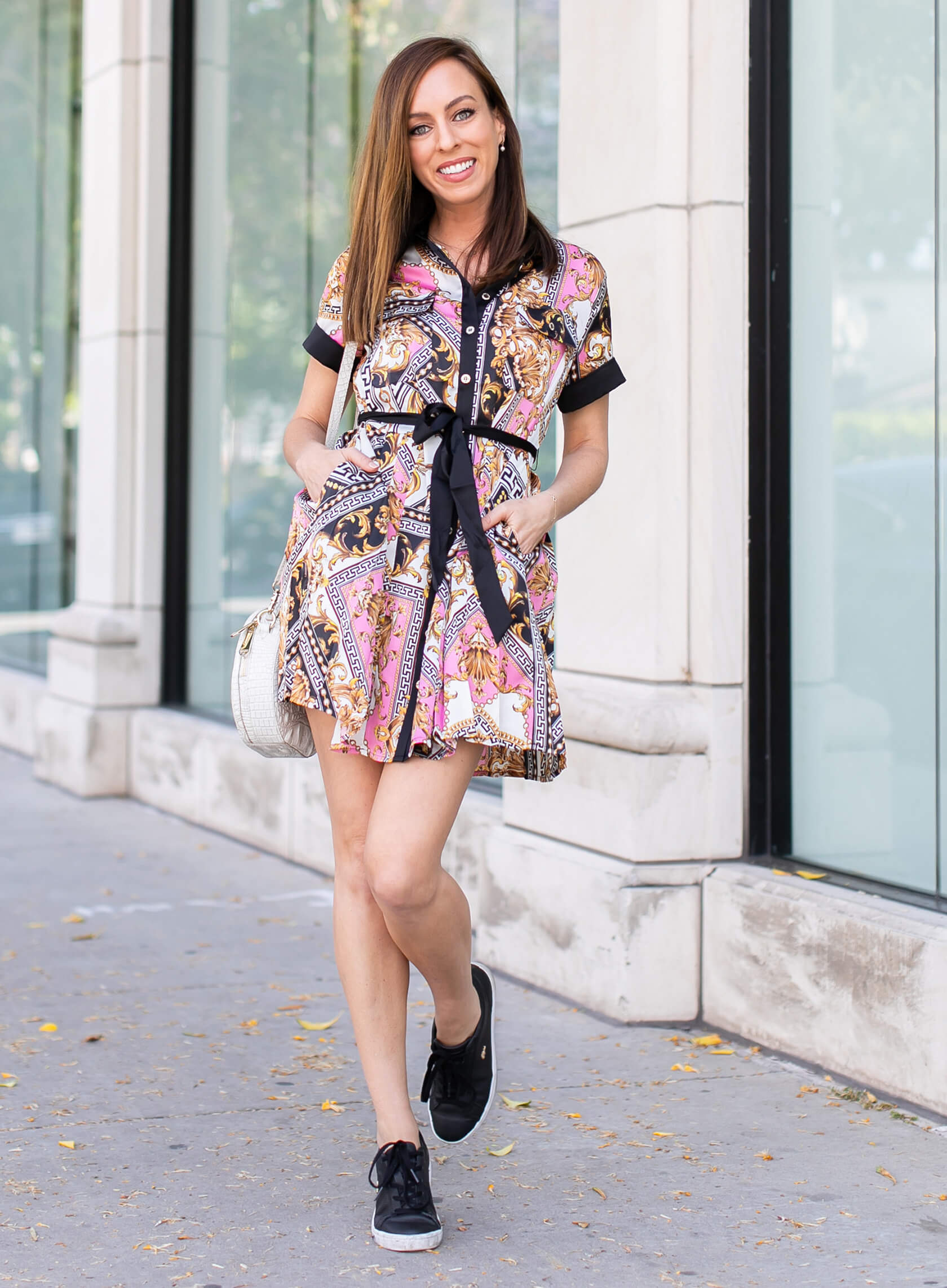 Sydne Style shows how to wear a scarf print for summer in guess shirt dress