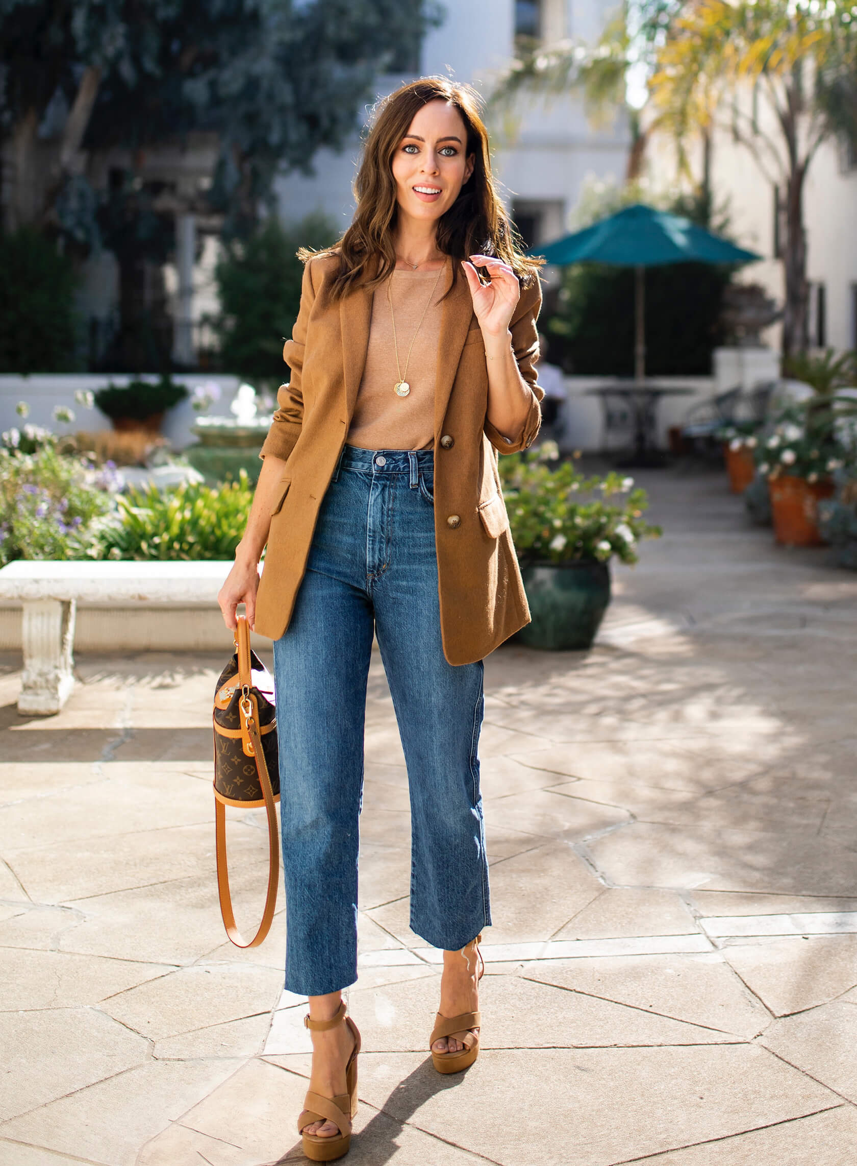 Sydne Style shows fall denim trend in agolde cropped jeans
