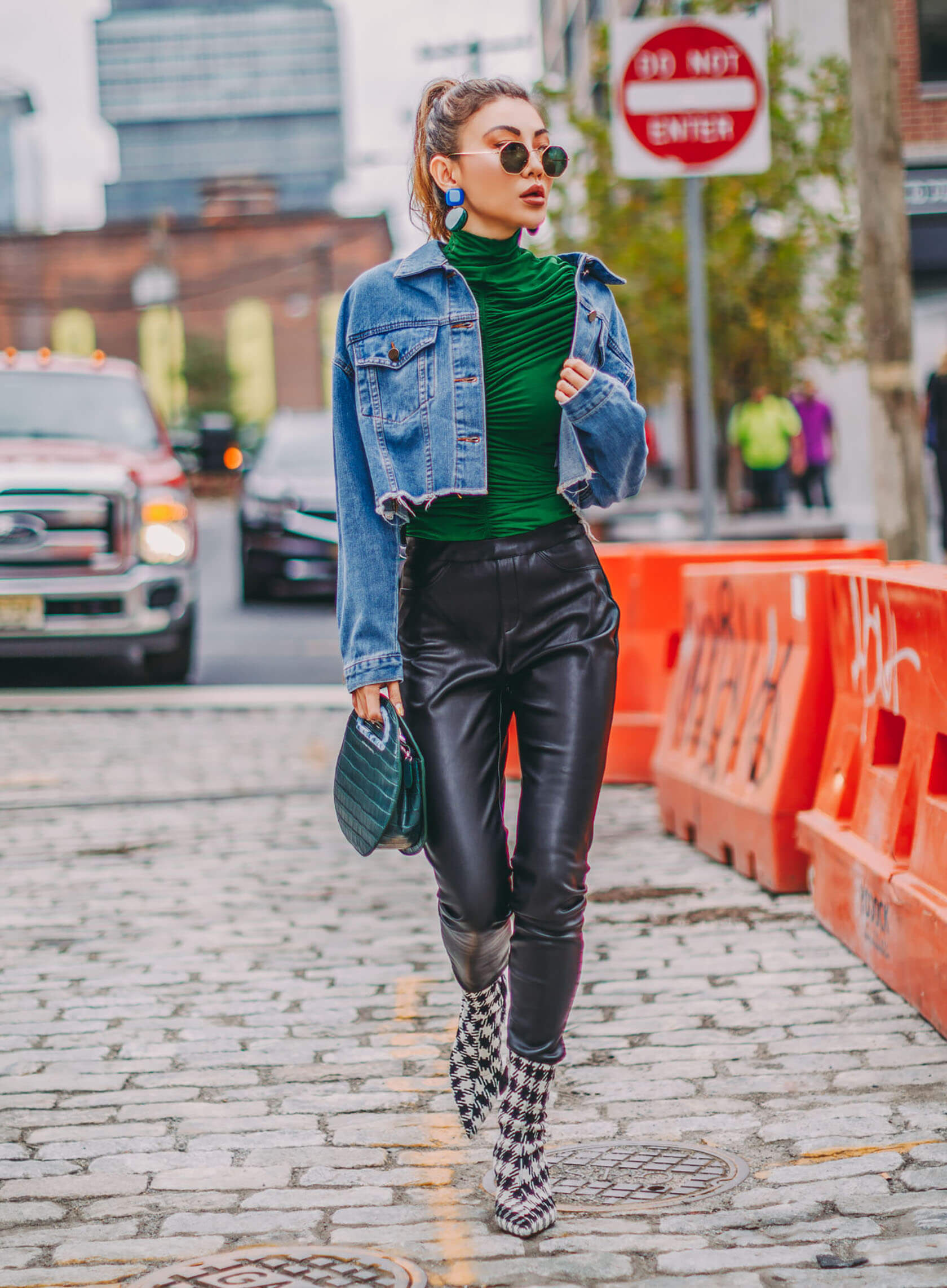 Sydne Style shows how to wear the houndstooth trend for fall like fashion blogger not jess fashion in houndstooth booties