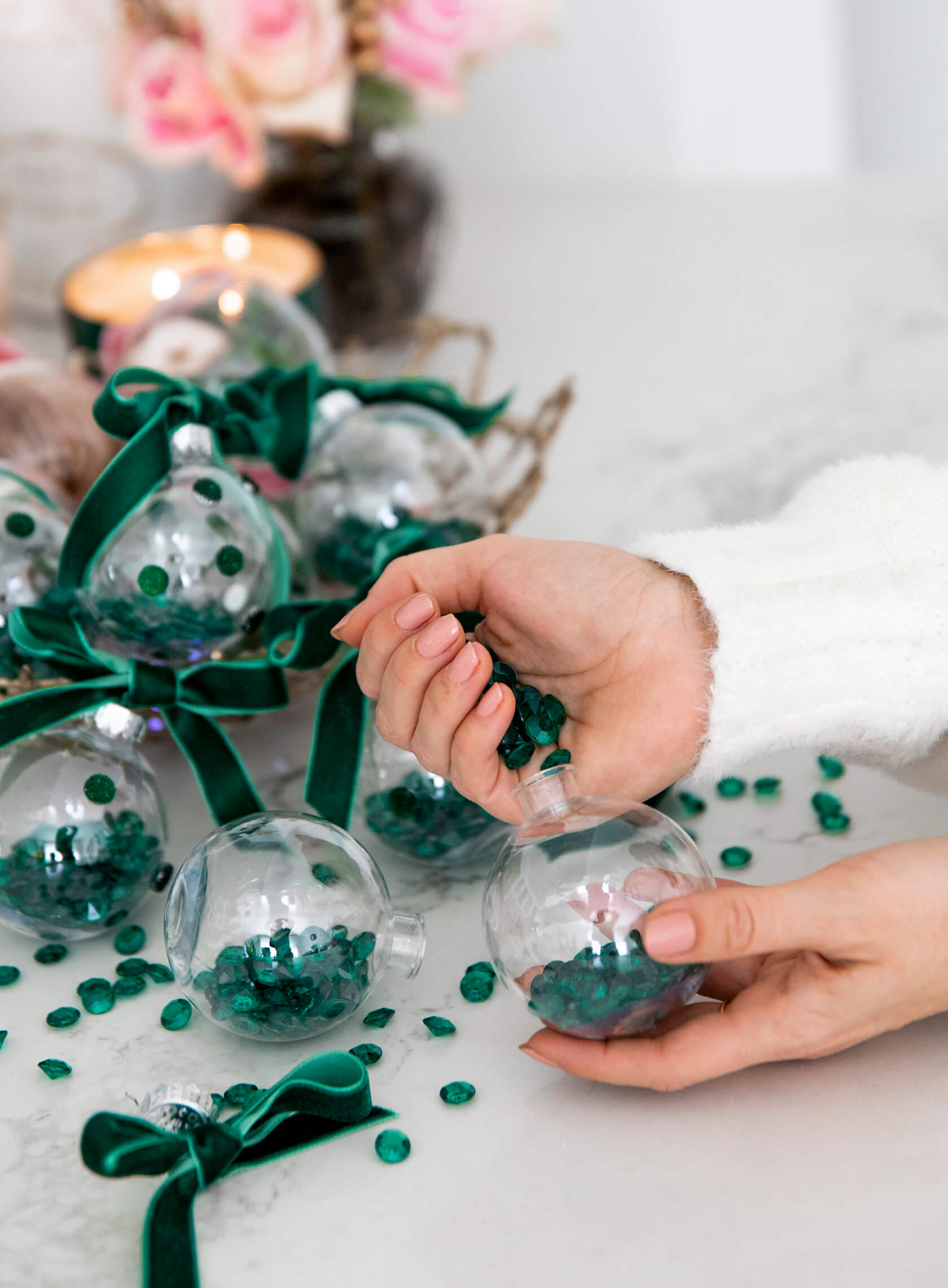 Sydne Style shows easy ornament diy with crystals and velvet ribbon
