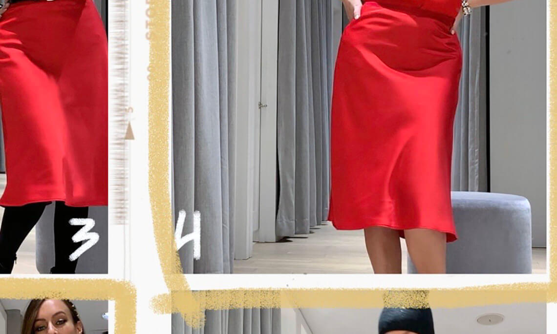Sydne Style shows how to wear a red skirt with ann taylor pieces for holiday season