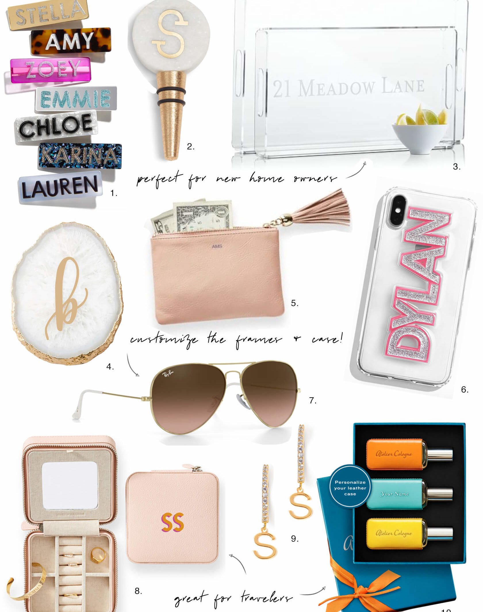 Sydne Style shows the best personalized gifts online for holiday gift guide with monogrammed gifts