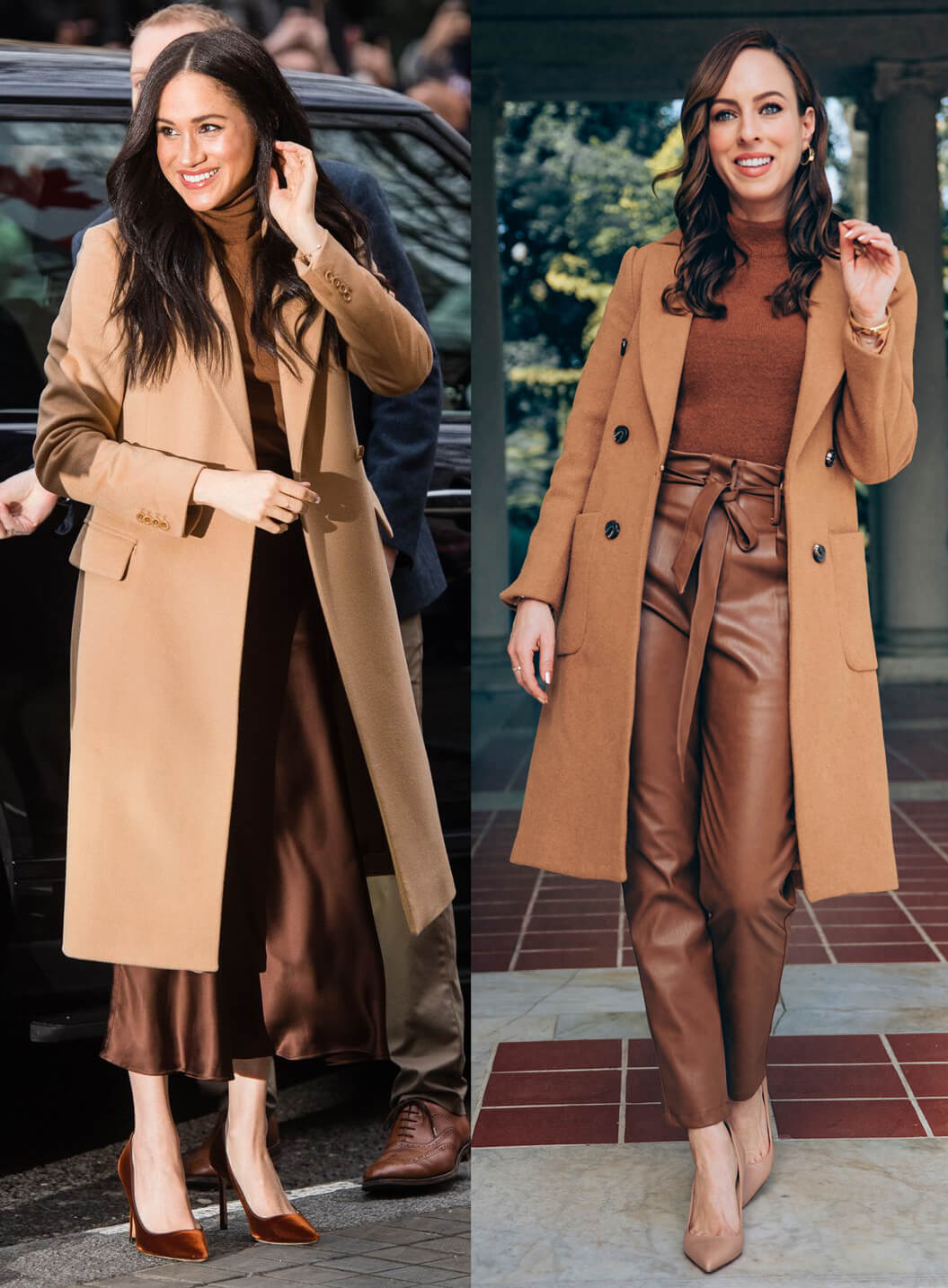Sydne Style shows how to dress like meghan markle in camel coat and brown and tan color palette
