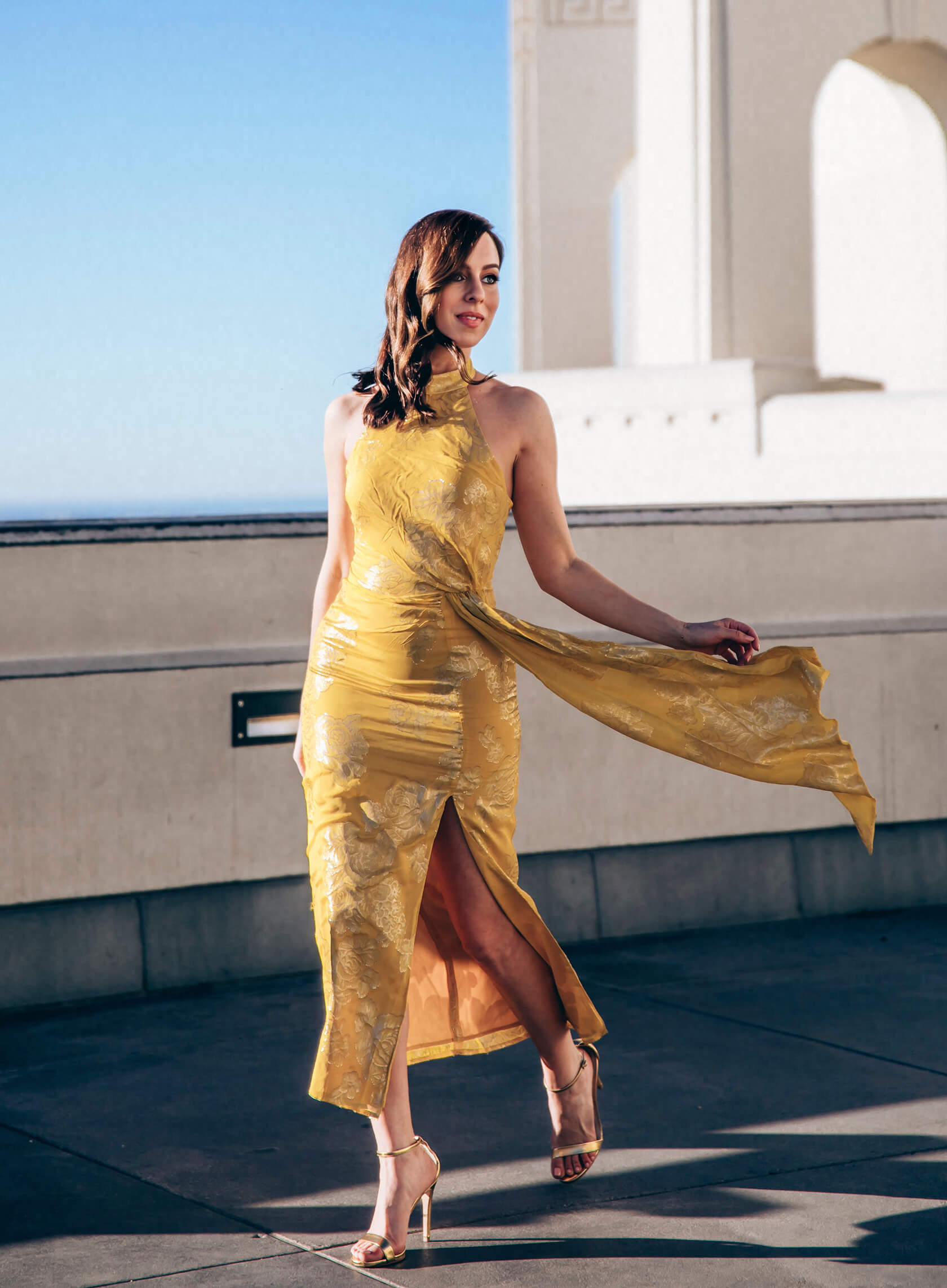 Sydne Style wears house of harlow yellow gold dress for spring dresses