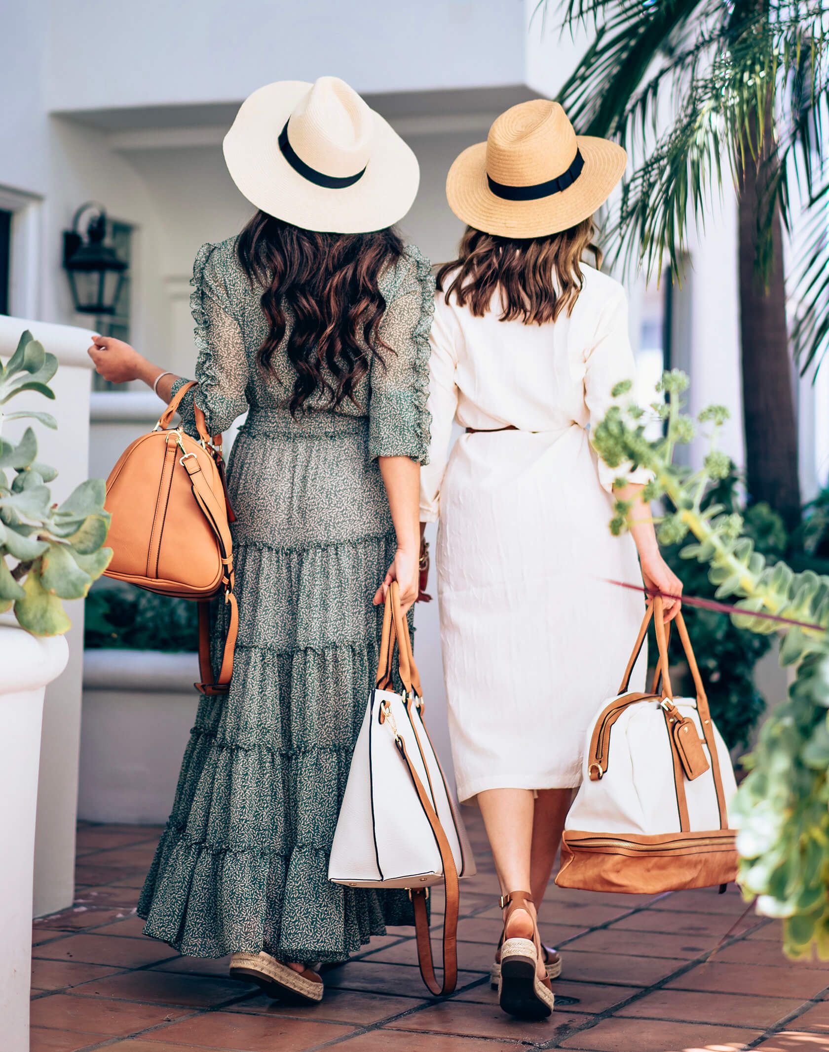 Sydne Style and Elizabeth Keene show the best travel accessories with sole society straw fedoras