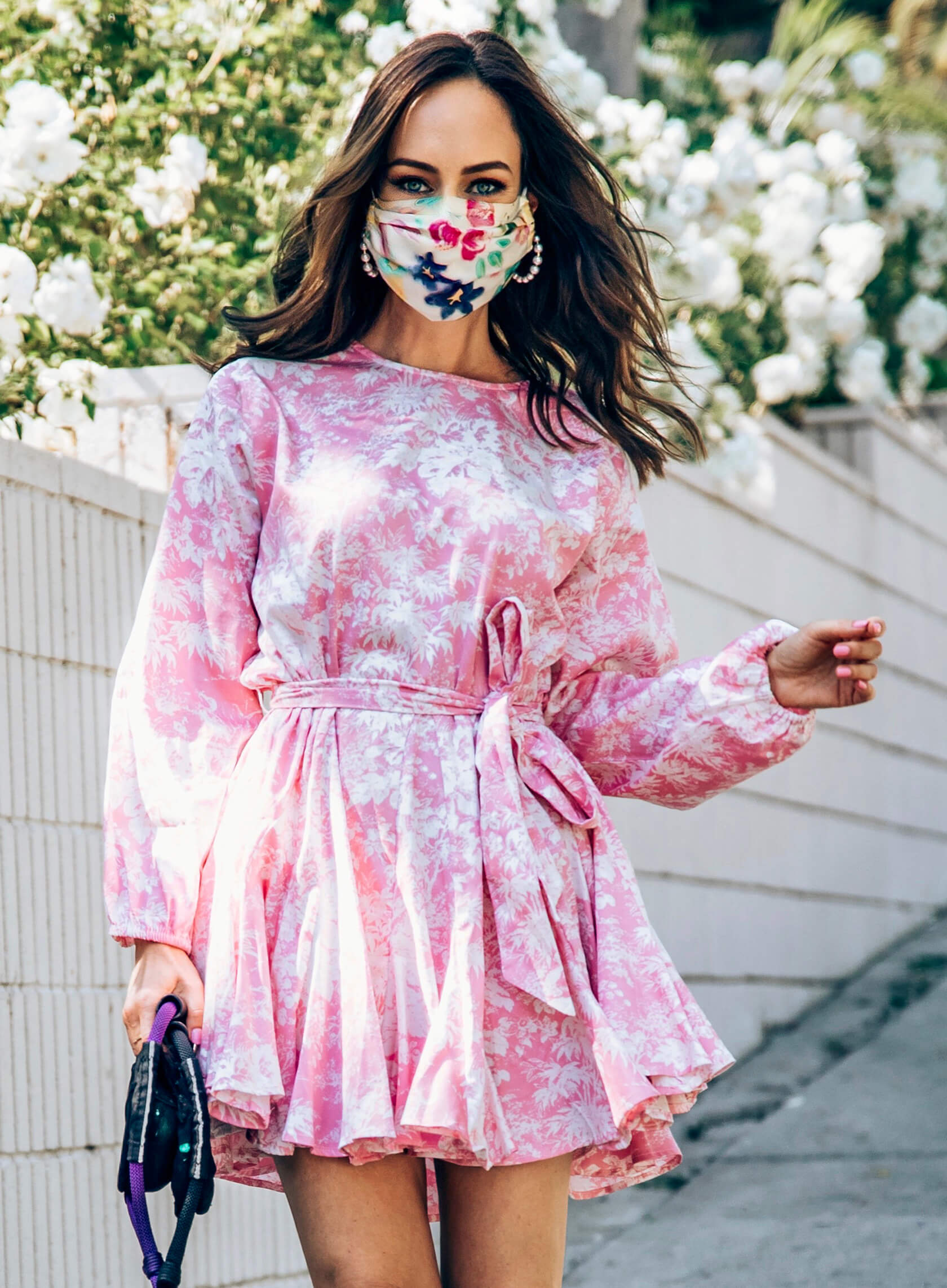 Sydne Style shows pretty floral face masks with pink dres